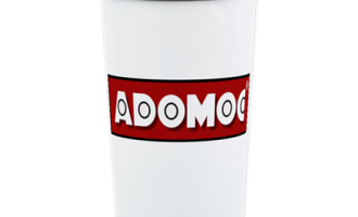 Stainless steel travel mug with official Adomoc International Logo